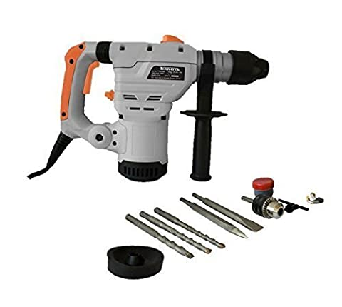 Terratek 1500W SDS Plus Rotary Hammer Drill, Includes Auxiliary 3-Jaw Chuck & Key, Complete with 5pc Drill Bit & Chisel Set