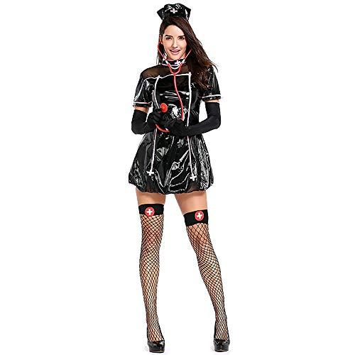 Shishiboss Halloween-Kostüm für Erwachsene, sexy Krankenschwester-Set in Schwarz, einschließlich Kleid/Hut/Handschuh/Stethoskop-Requisiten/Strümpfe, geeignet für Halloween-Party (Krankenschwester Kostüm Handschuhe)
