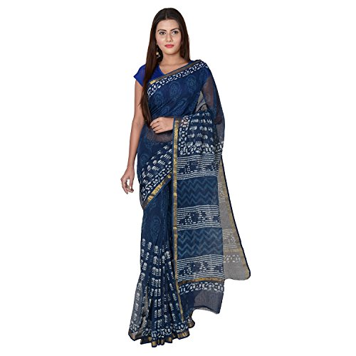 Panvi Kota Doria Cotton Silk Saree With Blouse Peice (P-59_Hand Block Printed...