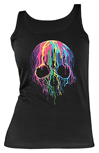 k-Top Shirt - Melting Skull - Bedrucktes Tank-Top Shirt mit Motiv Neon-Bild Als Geschenk Idee Totenkopf Schädel Halloween, Größe:M (Halloween Bild Ideen)
