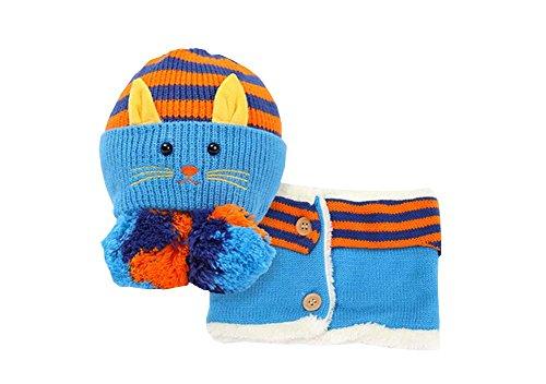 e und Schal Nützliche nette Woll Baby Hat Set Blau ()