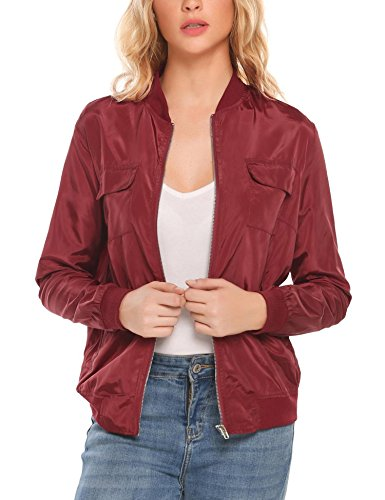 Meaneor Womens Casual O-Neck Long Sleeve Lightweight Bomber Jacket