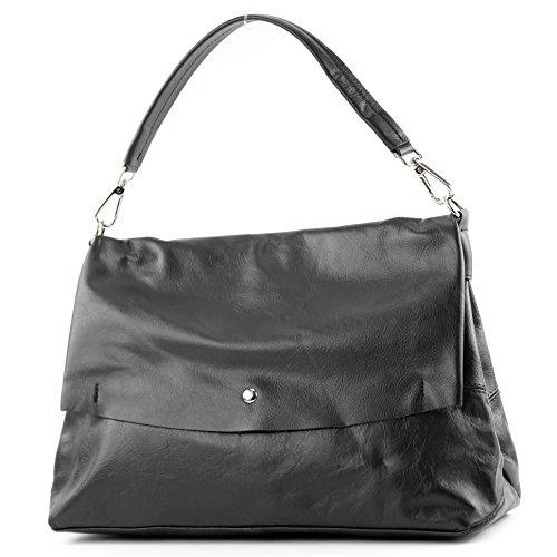 modamoda de - ital. Ledertasche Damenhandtasche Damentasche Schultertasche Nappaleder T156 Schwarz