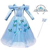 ChunTian Abito da Principessa Bambina Vestito Ragazza Carnevale Fantasia Farfalla Lunga Manica Blu Costume Cerimonia con Corona Imperiale e Bacchetta Magica
