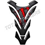 PE0078 - Adhesivo protector de parachoques (compatible con Honda, Kawasaki, Aprilia, Ducati, Cagiva, BMW, Yamaha), diseño de carbono, color rojo