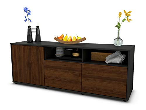 TV Schrank Lowboard Angelina, Korpus in anthrazit matt / Front im Holz Design Walnuss (135x49x35cm), mit Push to Open Technik, Made in Germany