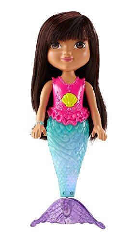 Mattel CDR85 Fisher Price CDR85-Schwimmende Glitzerlicht-Meerjungfrau Dora, Badespielzeug, Mehrfarbig