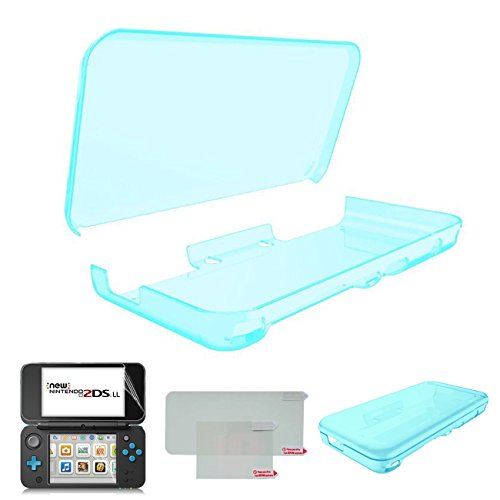 Hikfly Ultra Clear Kristall TPU Cover Shell für Nintendo New 2DSXL / LL (2017 Release) mit HD PET Film Bildschirm Schutz (Clear Blau)