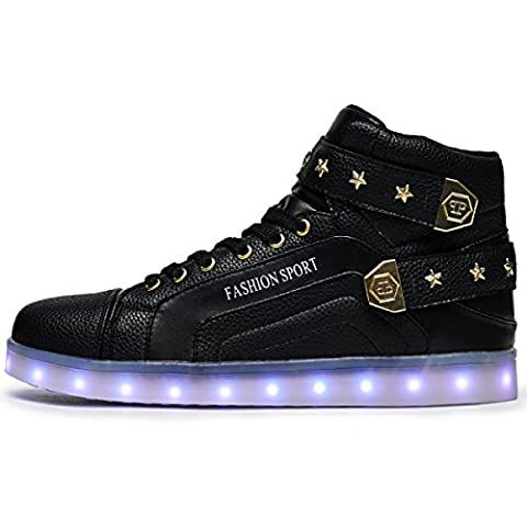 JSHOE Boy LED Shoes USB Charger Luminous Casual Shoes Star Iron Flash Plate Shoes For Valentine's Day Christmas