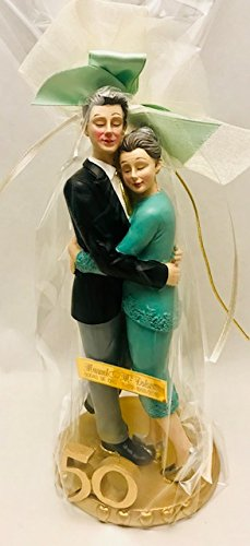 Figure gold wedding cake 50 anniversary ENGRAVED / PERSONALIZED figures for cake or gift