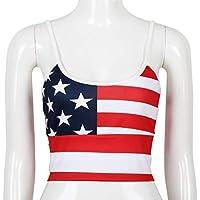 LUOEM Patrón de Estrellas y Rayas con Bandera Estadounidense para Mujer 4 de Julio Tops sin Mangas patrióticos Correa Camisetas Tamaño M