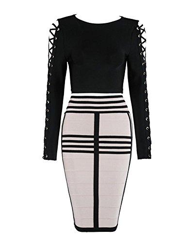 Whoinshop Damen Langarm Kleider Bodycon Kleid Zweiteilig Figurbetontes Partykleid Cocktailkleid mit...
