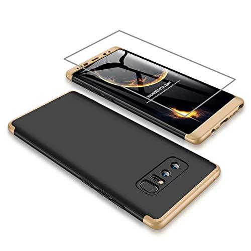 AILZH kompatibel für HandyHülle Samsung Galaxy Note 8 Hülle +Weicher HD-Bildschirmschutz,HandyHülle PC Hartschale Anti-Schock Schutzhülle Stoßfänger Bumper Cover Case Schutzkasten(Gold Schwarz)