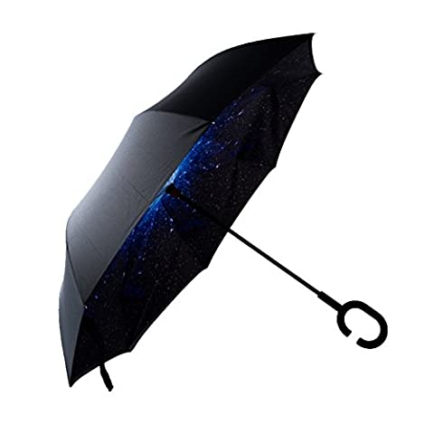 Regenschirm, Pyrus UV Sonnenschirm C-Form Griff Double Layer Regen Haken Regenschirm