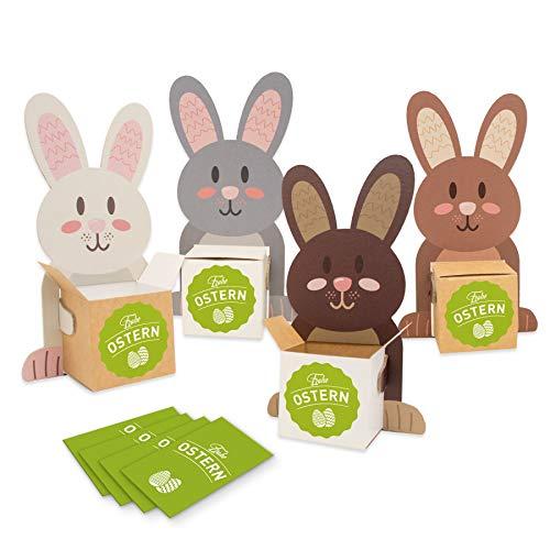 itenga Hasenbande 4er Set mit Hasenfiguren + Kartonwürfel + Sticker Frohe Ostern Als Osternest oder Tischdeko