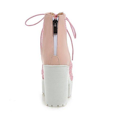 AllhqFashion Damen Reißverschluss Offener Zehe Rein Sandalen Pink