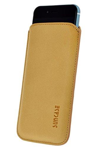 iPhone 8 / iPhone 7 Original Suncase® Book-Style (Slim-Fit) Ledertasche Leder Etui Tasche Handytasche Schutzhülle Case Hülle (mit Standfunktion und Kartenfach) antik-rot antik-camel