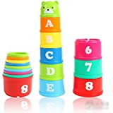[Patrocinado]UEETEK conjunto de descubrimiento no tóxico juguetes educativos bebé niño niño mida tazas de apilamiento