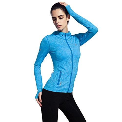 2-Fitness Damen voll Reißverschluss Langarmshirt Sport Funktionsshirt Yoga Fitness Laufen, Gr.S bis L, 5 Farbe Blau Medium