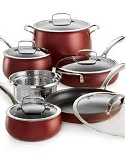 Belgique–11Piece Nonstick Aluminum Cookware Set–Deep Red by Belgique
