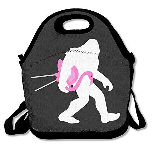 Bigfoot and Lawn Flamingo Lunch Bags Isolierte Picknick-Lunchbox Tote Handtasche mit Schultergurt für Frauen Teens Mädchen Kinder Erwachsene 16 x 24,40cm x 60cm