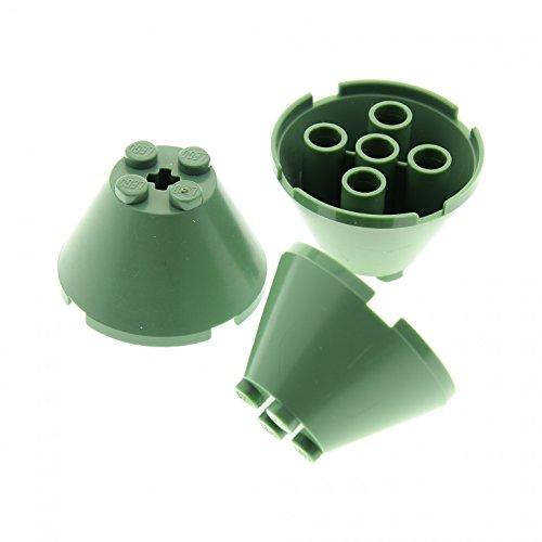 3 x Lego System Kegel Stein sand grün 4 x 4 x 2 mit Achs Loch Zylinder Trichter Set Harry Potter 4730 4714 4709 4757 5378 3943b