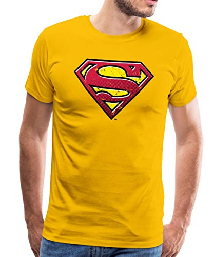Spreadshirt DC Comics Superman Logo Used Look Männer Premium T-Shirt, 3XL, Sonnengelb