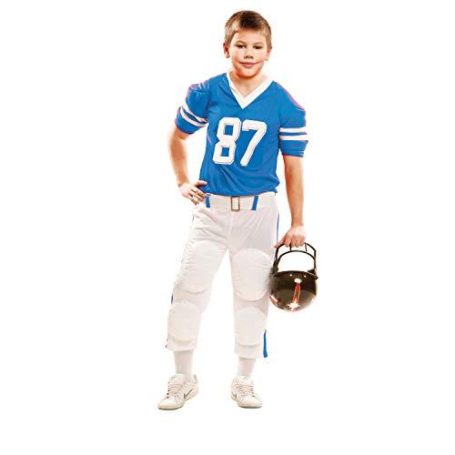 Football Kostüm Kinder Spieler - Partychimp 83-02109 - Rugby Spieler, Kinderkostüm, 7-9 Jahre, blau