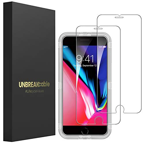 UNBREAKcable [2 Stück] Panzerglas Schutzfolie für iPhone 8/iPhone 7/6s/6, 2,5D Double Defense Displayschutzfolie mit Positionierhilfe für iPhone 8/7/6s/6, [4,7 Zoll, Kratzfest, Anti-Fingerprint]