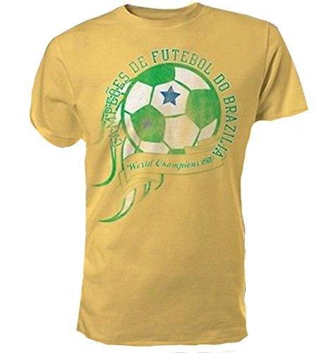 Brasil - World Champions 1970 Retro Envejecido - Oficial Camiseta para Hombre - Amarillo, Medium