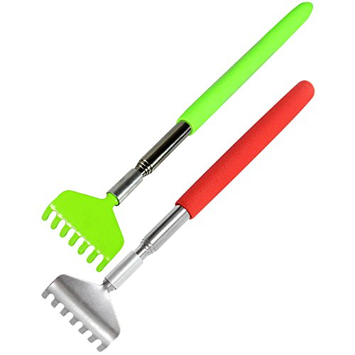 COM-FOUR Back Scratcher with telescopic handle, Set of 2Red & Green by COM-FOUR