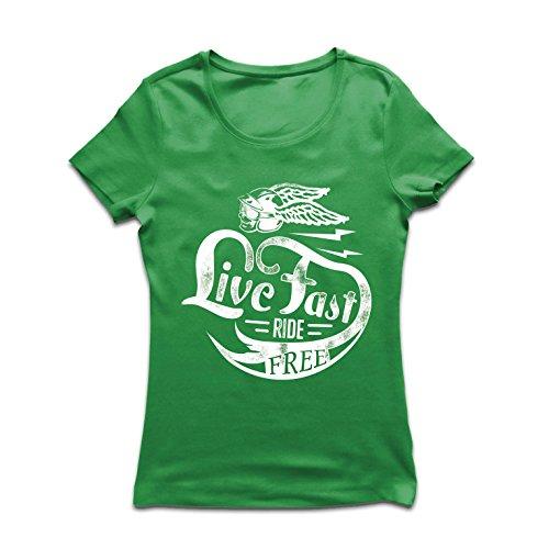 Frauen T-Shirt Live Fast Die Free - Klassische Bikers Kleidung, Motorradausrüstung, Motorrad Sprüche (Small Grün Mehrfarben)