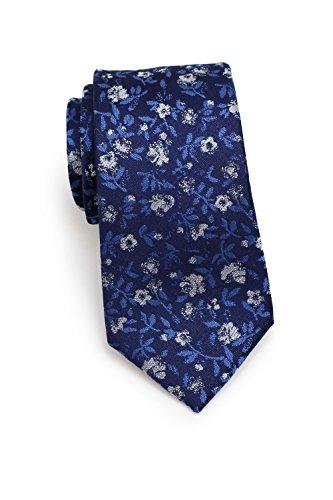 Schmale Krawatte, Dunkelblau, modernes Blumenmuster, 100% Seidenkrawatte, Marke Blackbird, 7 cm Skinny / Slim Tie, Handarbeit -