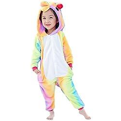 JT-Amigo Disfraz de Pijama Animales para Niños, Unicornio Multicolor, 4-6 años