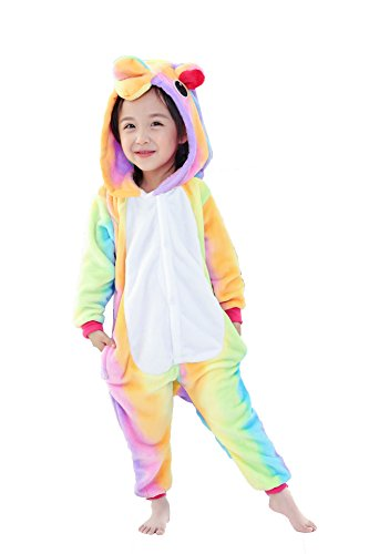 JT-Amigo Kinder Pyjama Strampler Schlafanzug Tier Kostüm für Halloween Karneval Fasching, Einhorn Bunt Kostüm, Gr. 92/98 (Herstellergröße - Für Kinder Halloween-kostüm Einhorn