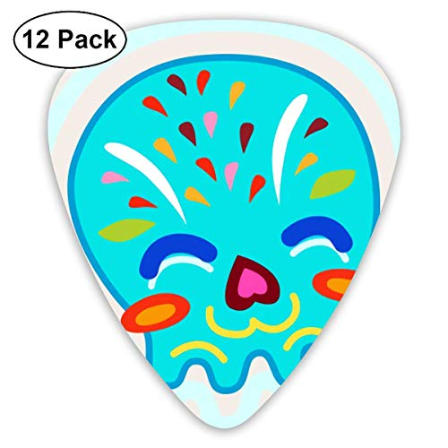 (Custom Guitar Picks, Cute Halloween Shy Cartoon Skull Guitar Pick,Jewelry Gift For Guitar Lover,12 Pack)