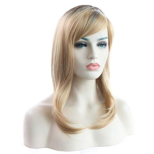 Lucky star women ' s long nero/bionda soffici ricci parrucca resistente al calore con tappo di rose net