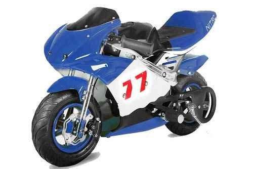 Pocket Bike PS77 49cc, Kinderbike, Rennbike, Dirtbike, Mnibike, Schwarz-Blau-Weiß