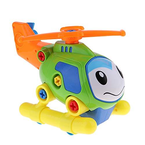F Fityle DIY Bausteine Gebäude Spielzeug Konstruktionsspielzeug Elektronisches Spielzeug mit Schrauben Design - Hubschrauber
