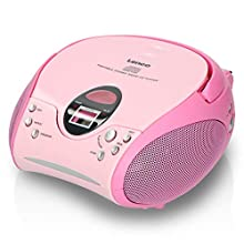 Lenco SCD-24 Stereo Boombox, Radio FM, CD-Player, Rosa