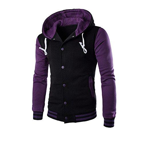 Qmber Kapuzenjacke Herrenjacke Sweatjacke Parka Mit Kapuze Hoodies Outdoor Coat Strickjacke Täglichen Mäntel Outwear Herbst Winter Tops, Winter Schlank Warm Sweatshirt (Lila,Large)