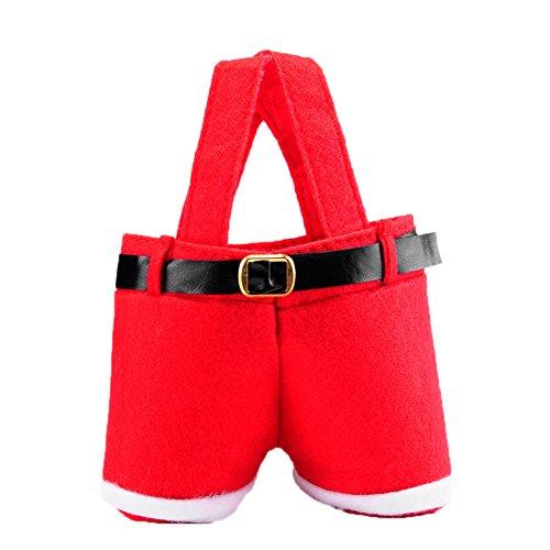 Bolsa roja de caramelo de Navidad Bolsas con forma de Santa Pants con asas como envoltura de regalo portátil Cestas Bolsas para el tratamiento de la boda