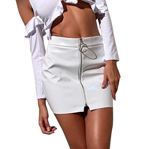 Mini-print-rock (♪ZEZKT♪ Damen PU-Leder A-Linie Mini Rock Reißverschluss Elegant Kurz Hohe Bund Knielang Rock Hohe Taille Schlank Party Clubwear Kurze (S, Weiß))