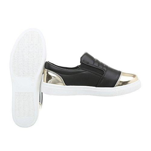 Sneakers Ital-design Basse Sneakers Da Donna Basse Moderne Scarpe Casual Con Cerniera In Oro Nero D20