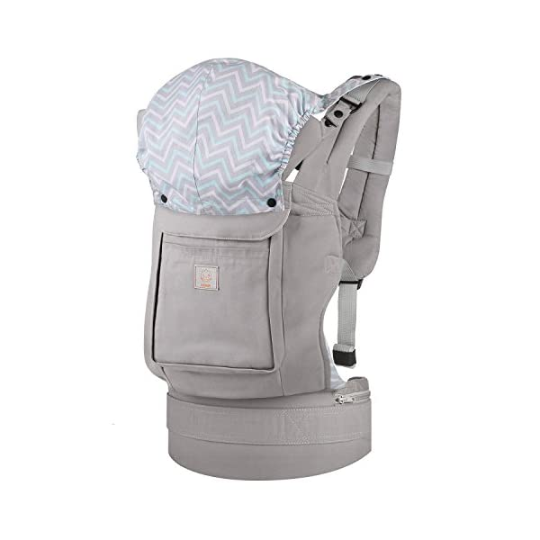 """GAGAKU Ergonomic Baby Carrier Soft Cotton Front and Back - Child Carrier with Detachable Hood for All Seasons (5-48 Months) GAGAKU Ergonomic 34 cm (13.5 inches ) wide seat provides proper support of baby's legs, hips and spine, and support your baby in natural """" M """" Position baby to toddler; Adjustable neck support secure and proper placement of baby's head and neck; Extra-padded shoulder strap and wide waist belt ensure stability and pressure reduction; 6"""