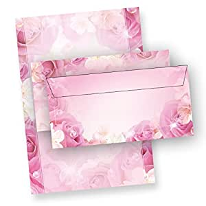 Tatmotive Pink Rose A4, 25 Writing Paper Set with envelopes, double side print