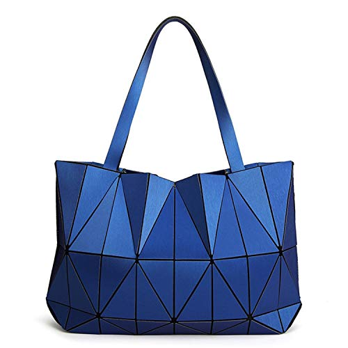 enlOWJ Geometry Ladies Shoulder Bag Women Handbags Matte Triangle Laser bags Purse Female Totes Diamond Quilted,Blue
