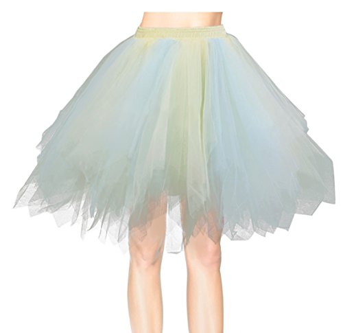 Flying Rabbit Kurz Retro Petticoat Geschichteten Retro Ballett Tutu Unterrock Elegant Party Licht blau - Gelb