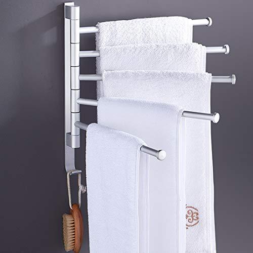 DONGCY Swivel Handtuch Bar Aluminium Badezimmer Swing Aufhänger Handtuchhalter Speicher Organizer Platzsparend Wandhalterung,2-Arm - Chrom Swing-arm Handtuchhalter
