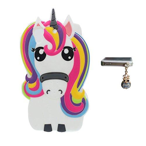HTC Desire 626 Coque, HTC Desire 626 étui, Mignonne Flexible TPU Cartoon Case 3D Cover  + Bouchon anti-poussière ( Cartoon Licorne cheval unicorn ) Anti-rayures